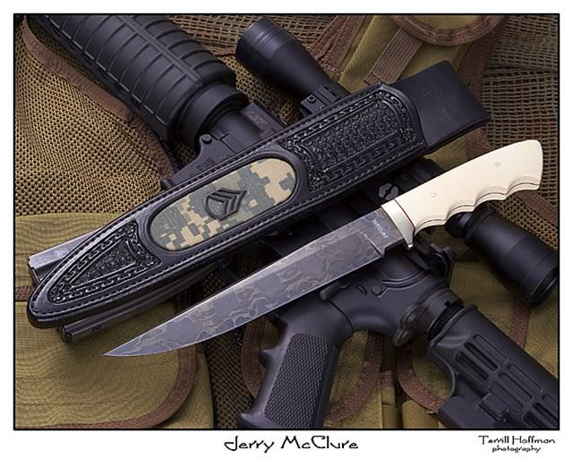 I forged this blade from a Hummer timing chain that was in the Iraq war. The sheath inlay is from Mike Tarango's acu cap with his rank which he wore in the Iraq war. Jerry